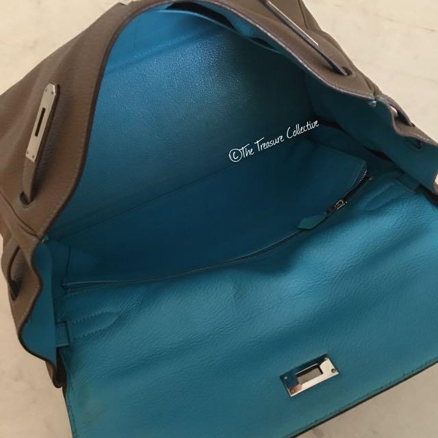 1410673c0e5d Hermes 35cm Kelly So Flash in Etoupe Bleu Azteque