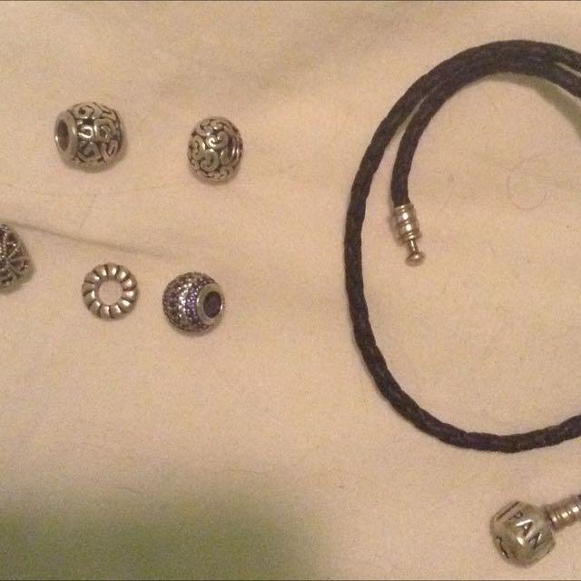Pandora Leather Bracelet and Charms