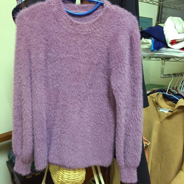 QQ毛紫色針織上衣