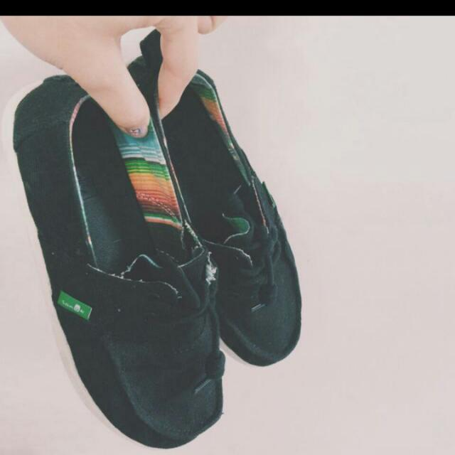 Saunk黑色懶人鞋