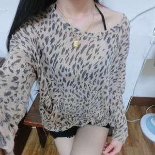 豹紋針織衣