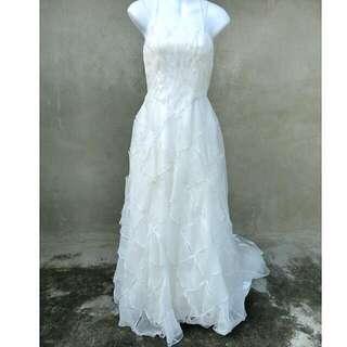 簡約格紋串珠細肩帶大拖尾禮服 婚禮 自助婚紗 57