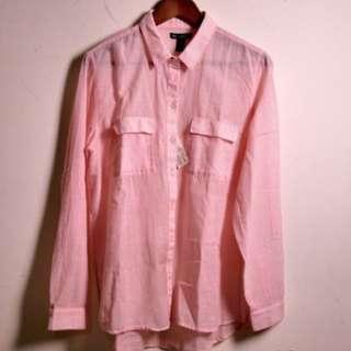 NT$500含運【全新】GAP 美國休閒品牌 粉紅色條紋襯衫 長袖襯衫 女款