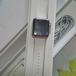 I Watch Sport 42mm 7000 Series Silver Aluminum ion-x Glass Retina Display composite Back - Sport Band White Colour
