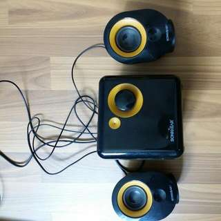 Speaker Set With Base System..phone Jack In For Handphone