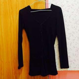 黑色綁帶針織外套
