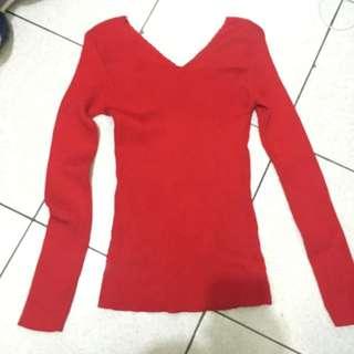 全新 紅色V領針織上衣