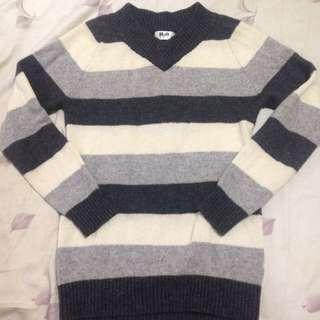 H2o黑白灰條紋羊毛毛衣