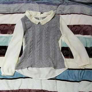 雪紡拼接毛衣襯衫