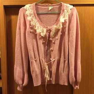 超可愛粉粉針織薄外套