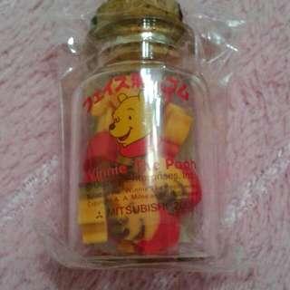 維尼熊日本製可愛橡皮擦玻璃瓶身稀有品。收藏品。