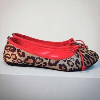 豹紋✖️紅 娃娃鞋 平底鞋