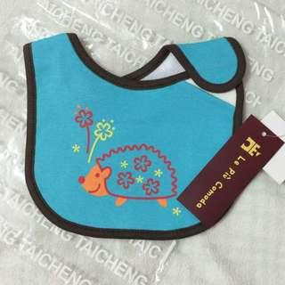 刺蝟藍綠色寶寶圍兜