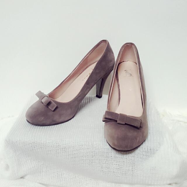絨布可可蝴蝶結高跟鞋39號