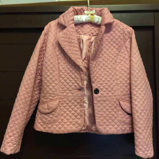 麂皮粉色西裝外套