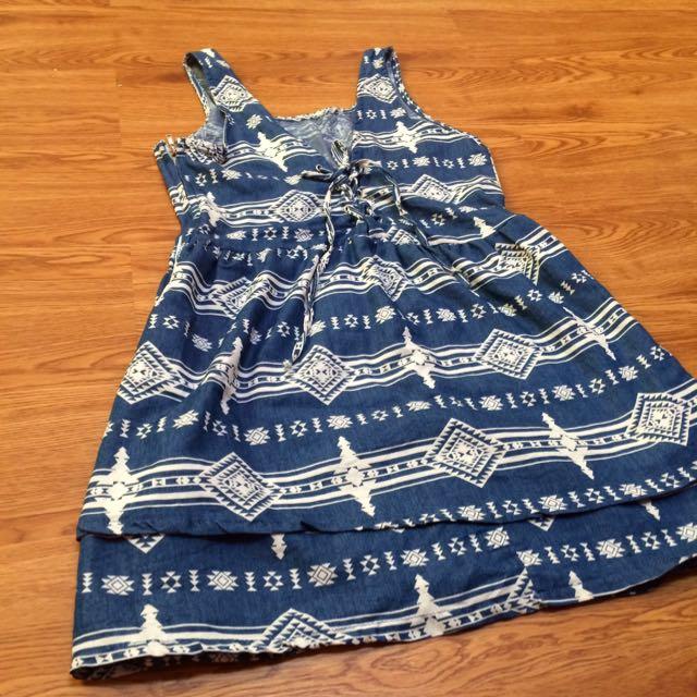 單寧幾何圖騰綁帶洋裝