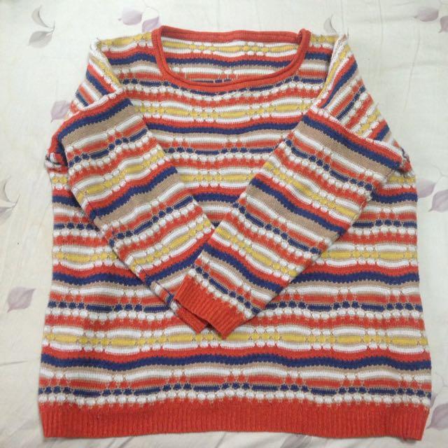 古著彩條毛衣