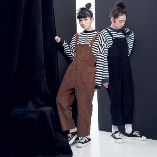 燈芯絨吊帶褲(咖啡色) 吊帶寬褲
