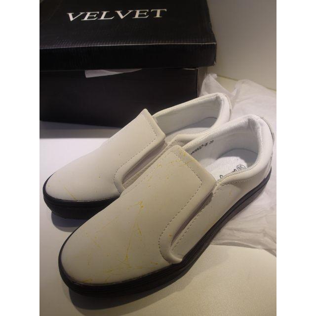 時尚潑漆感白色懶人鞋厚底鞋小白鞋平底鞋