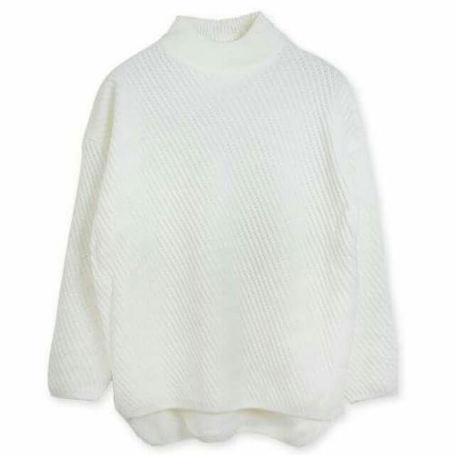 小立領高領落肩厚針織毛衣
