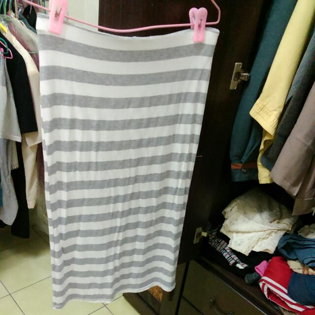 韓製條紋長裙
