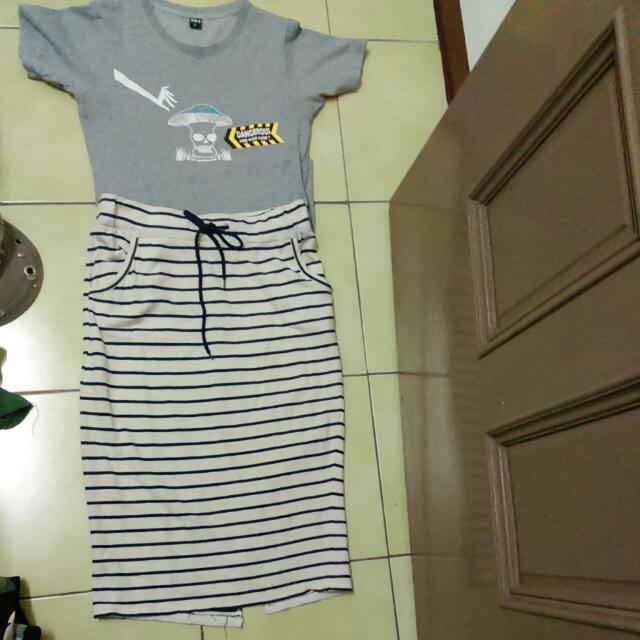 海軍風條紋長裙