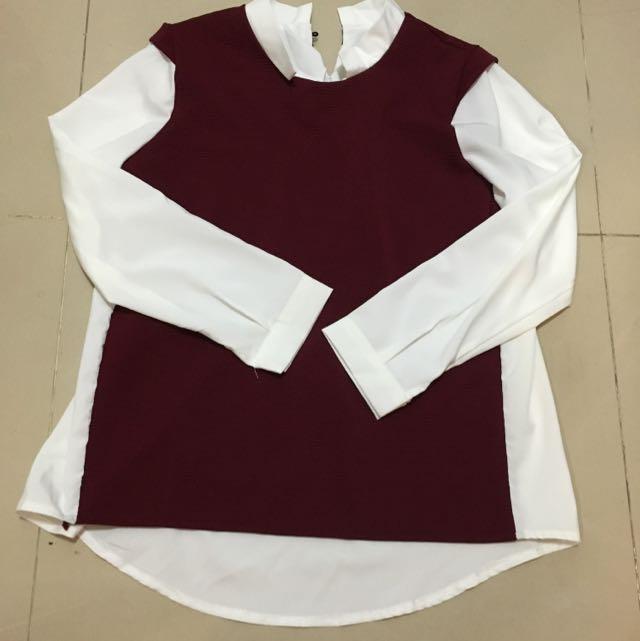 紅白搭配學院風上衣