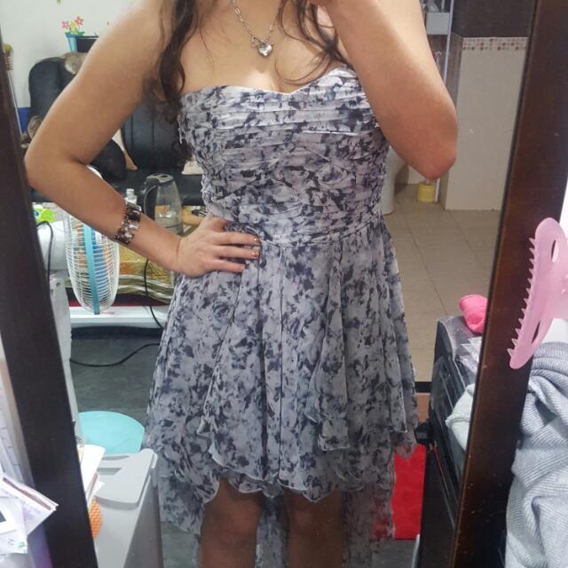 灰花紋 前短後長洋裝