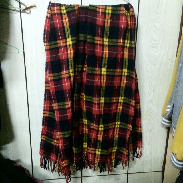 韓製 紅格紋 超寬 圍巾 披肩