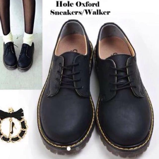 英倫鞋 馬丁鞋 短靴 低筒鞋 黑色 24.5