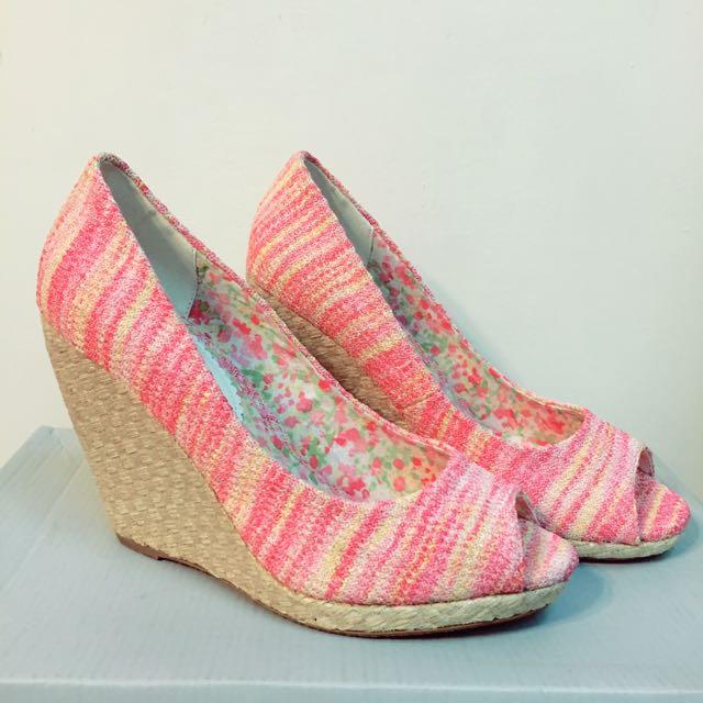 小碎花 粉色 魚口 楔型 高跟鞋