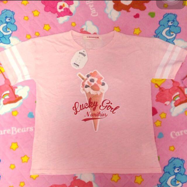 全新免運 日本帶回 粉紅色可愛冰淇淋 上衣 T恤