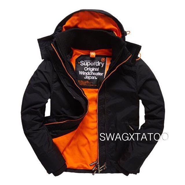 預購特價✔️ Superdry 極度乾燥 黑橘 黑標 男生刷毛款 防風外套