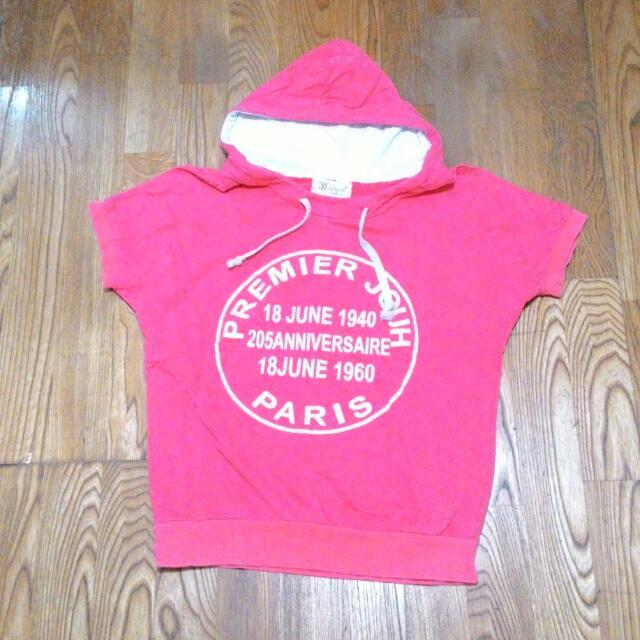 粉色 帽T 短袖 上衣