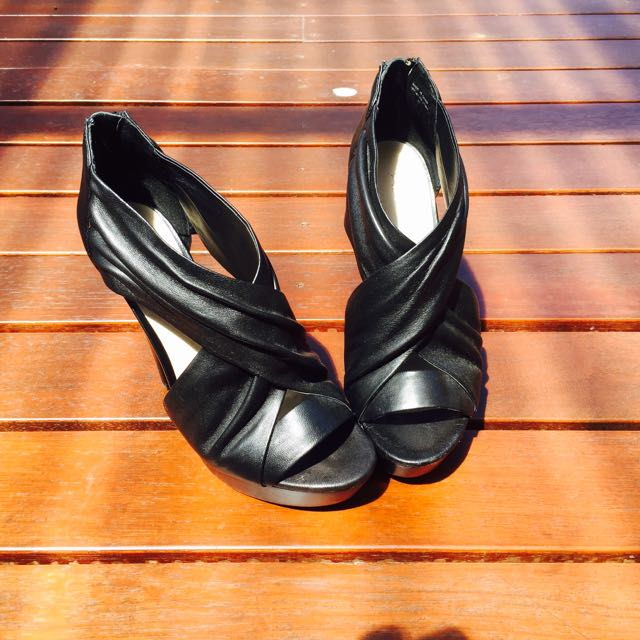 Aldo Black Leather High Heels