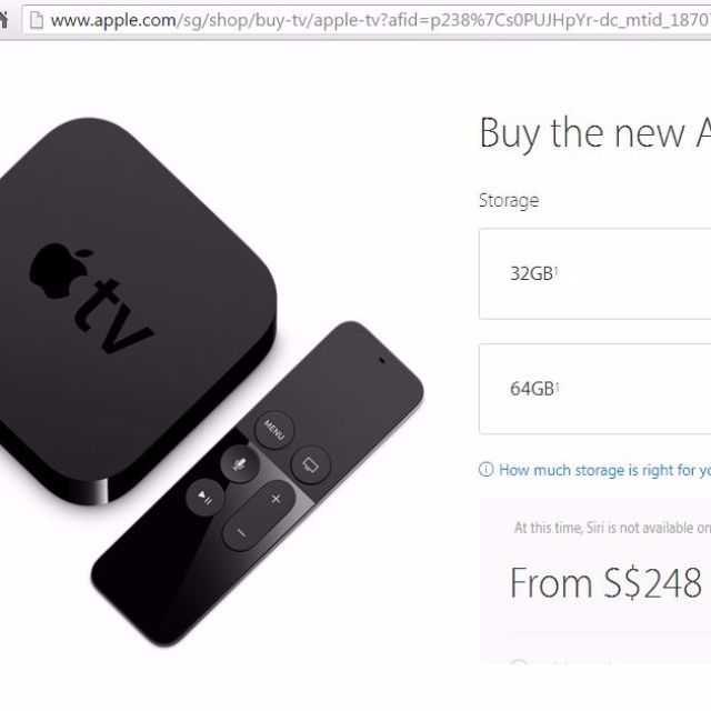 Apple tv 4th G 32 Gb  Sms me at 96538069  Box is Unsealed  In great  condition