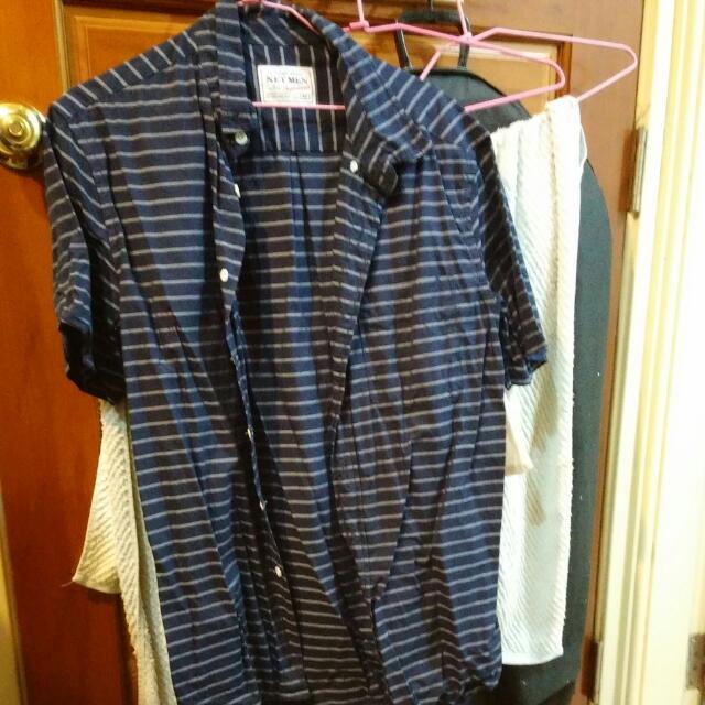 直條紋短袖襯衫M號藍色