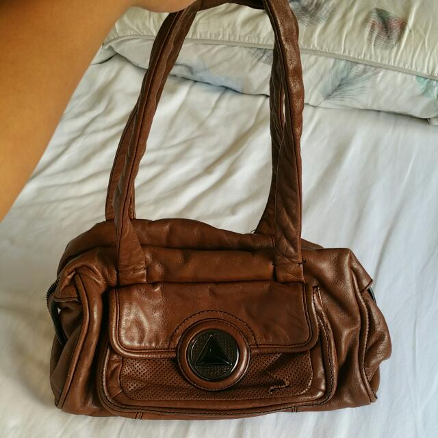 Mimco Dark Tan Leather Handbag