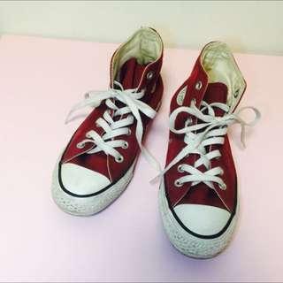 Converse 酒紅帆布鞋