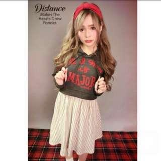 MJR 短版字母帽TEE+直條紋裙假兩件式洋裝【Mavis Major Made】