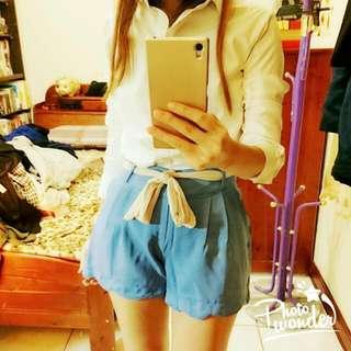 Air Space 韓風氣質雪紡綁帶花邊粉藍褲裙