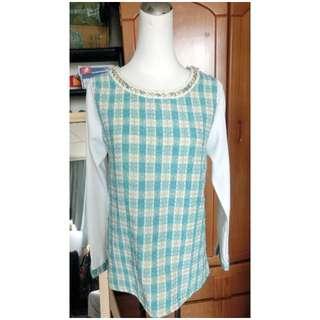 轉賣 甜美馬卡龍金鍊造型質感金絲綠針織拼接雪紡上衣 MJR/oshare