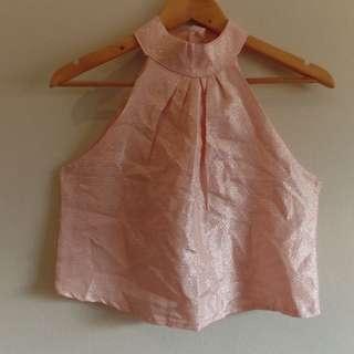 pink shimmering halter top