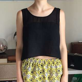 Black Loose Fitted  Crop Top Size S