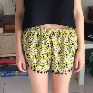 Yellow Patterned Pom Pom Shorts Size Xs-s