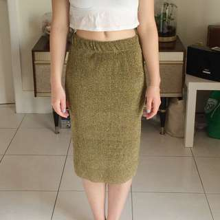 Sparkly Gold Long High Waisted Skirt Size Xs-s