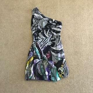 Psychedelic One Shoulder Dress