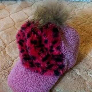 【含運出清】兔毛毛球 粉紅豹紋 造型棒球帽 粉紅甜心超可愛