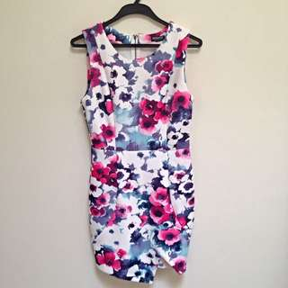 Floral Print Bodycon Dress Size 8