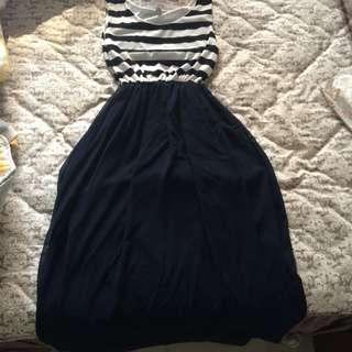 條紋薄紗長裙